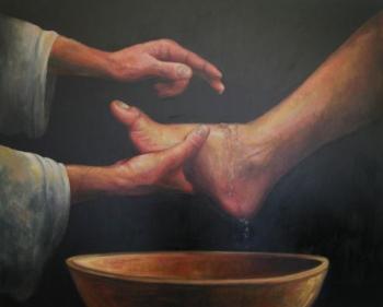 Jézus megmossa tanítványai lábát